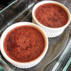Red Velvet Creme Brulee out of the oven