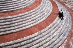 A Marble Lunch (CVerwaal) Tags: nyc newyorkcity newyork stairs analog lunch fuji steps olympus ishootfilm oldschool wintergarden zuiko batteryparkcity fujisuperia olympus35sp