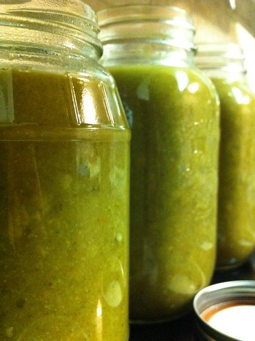 Beautifully Green Veggie Soup in Jars