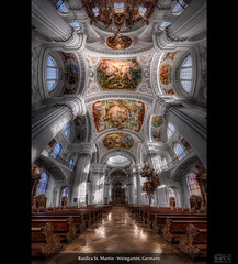 Basilica St. Martin - Weingarten, Germany (HDR Vertorama) (farbspiel) Tags: panorama church photoshop germany geotagged temple nikon interior basilica religion belief wideangle holy h