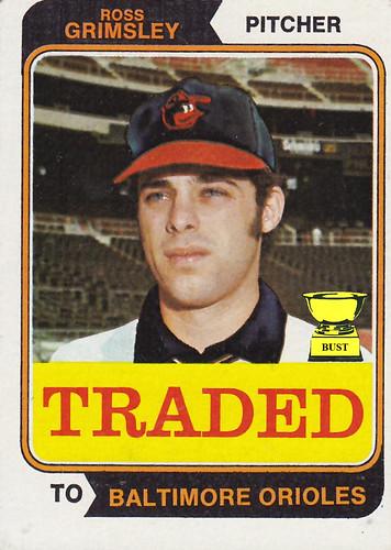 Baseball Card Bust Ross Grimsley 1974 Topps Traded