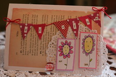 Be Mine pennant banner card (fertree33~Jen Bowles) Tags: black illustration pen cards handmade valentine pitt doily whimsical cardstock jenbowlesdesign