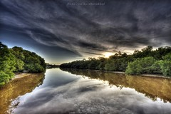Sg Damuan HDR_2 (HardBreakKid) Tags: bridge trees sky cloud reflection water clouds sunrise canon river eos outdoor ultrawide canoneos brunei efs 1022mm hdr 1022 manfrotto bsb uwa efs1022mm bandarseribegawan 50d 055prob eos50d canon50d
