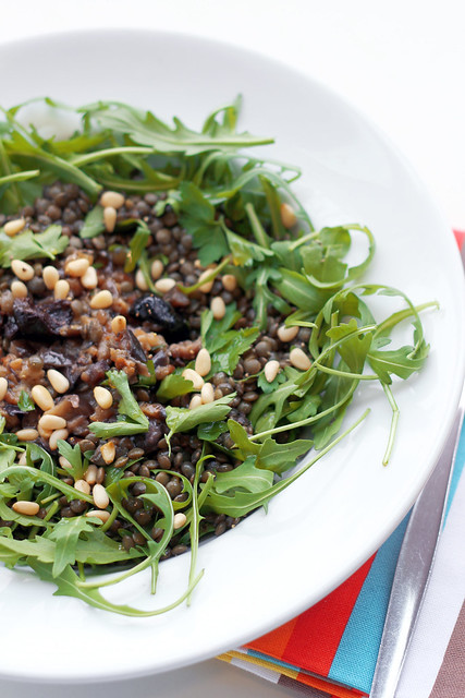 Aubergines, Lentils and Rocket