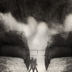 a walk in the clouds (Ąиđч) Tags: people abstract reflection andy rain shadows action andrea cement down andrew ombre persone cemento astratto pioggia upside iphone riflesso azione benedetti sottosopra ąиđч