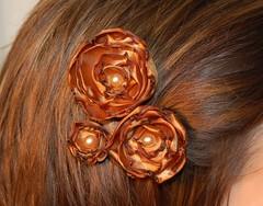 Burnt Gold Satin Flower Hair Pins