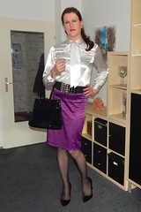 Once more in a satin secretary outfit (Rikky_Satin) Tags: satin silk white pussy bow blouse purple pencil skirt pvc vinyl pumps highheels handbag pantyhose stockings nylons crossdresser crossdressing transvestite transgender femboi sissy secretary office attire feminine business fashion
