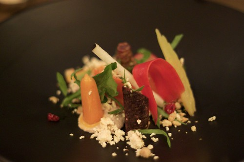 raw, cooked and pickled carrot salad, walnut cream & shanklish