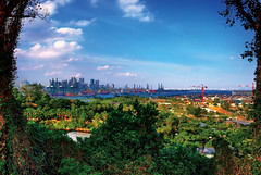 Port of Singapore. View from Serapong Golf Course, Sentosa (williamcho) Tags: game sports club golf landscape singapore scenic aerial cargo chips cranes delivery leisure merchandise sentosa containers psa imagesofsingapore containerships flickraward flickrestrellas portofsingaporeauthority seraponggolfcourse photosonsingapore