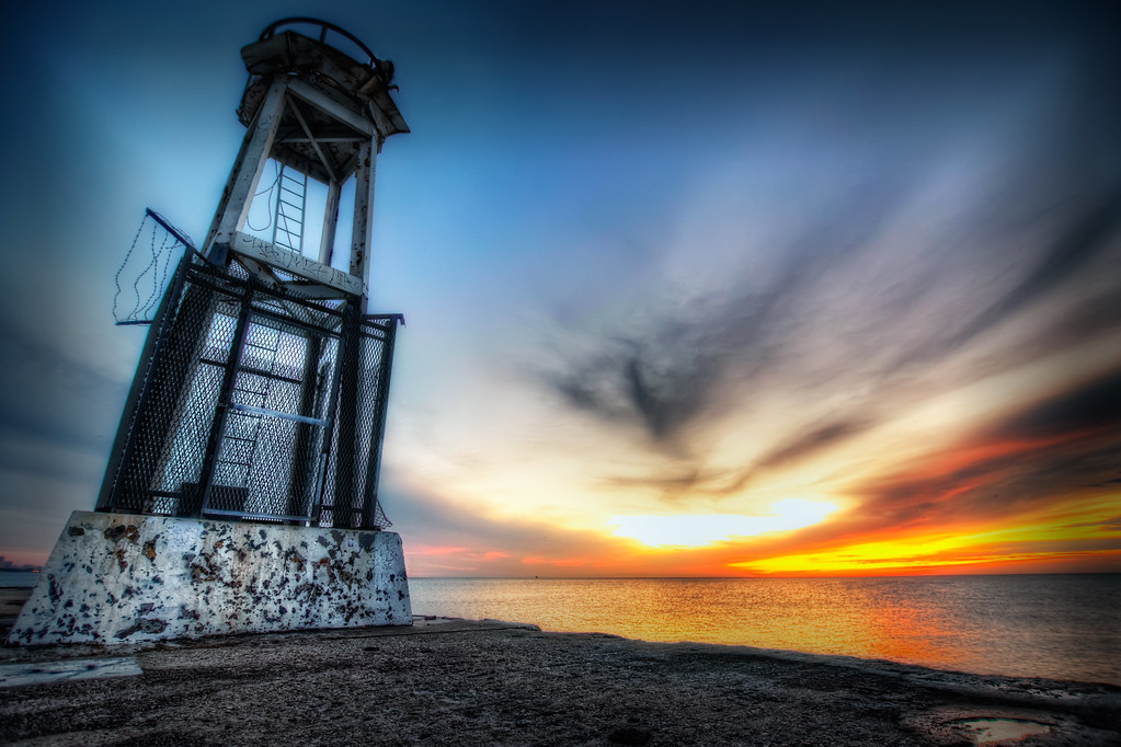 The lighthouse on the North Avenue Beach Getty.
