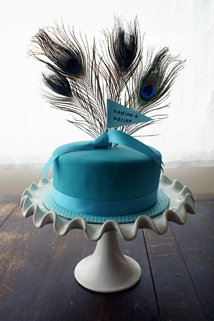 peacock themed cutting cake for wedding!