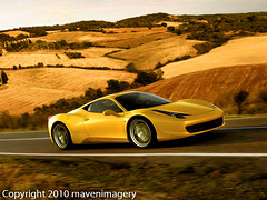 West Wind: Now, I can Drive (mavenimagery) Tags: motion blur west nature car yellow rural speed ferrari hdr 458 mavenimagery