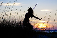 I'm Already There (Mona Hura) Tags: sunset sea sun gulfofmexico silhouette set hair island coast gulf arms florida oats panhandle pensacolabeach 9783