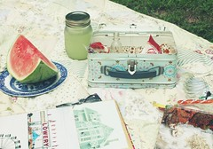 summer picnic (say.today) Tags: junk picnic summertime lunchbox photoalbum watermellon lemonaid