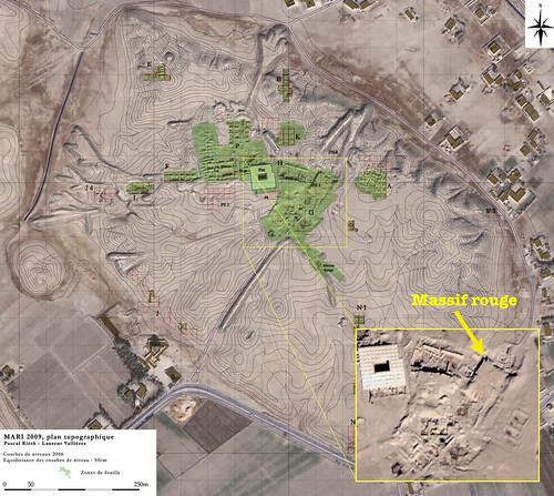 Plan topograhique du site archéologique de Mari (Favissa temple bas du massif (mission archéologique française de Mari)