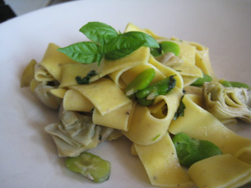 Artichoke and Fava bean Parpadelle