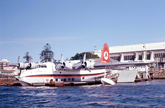 Ansett Sunderland Flying Boat VH-BRC at base at Rose Bay on Sydney Harbour, N.S.W. Australia.