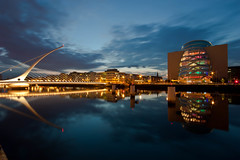 Icons of Dublin City (Mick H 51) Tags: city bridge blue ireland dublin reflection architecture night canon river eos long exposure centre sigma liffey clear hour conference docklands beckett 1020 samuel conferencecentre 450d samuelbeckettbridge