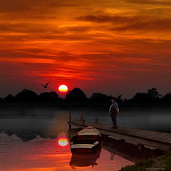 River Man (h.koppdelaney) Tags: life sunset red man art heron digital photoshop river boat fishing energy state symbol spirit picture happiness philosophy harmony return mind wisdom metaphor now stillness psyche patience symbolism calmness psychology archetype idream saariysqualitypictures koppdelaney