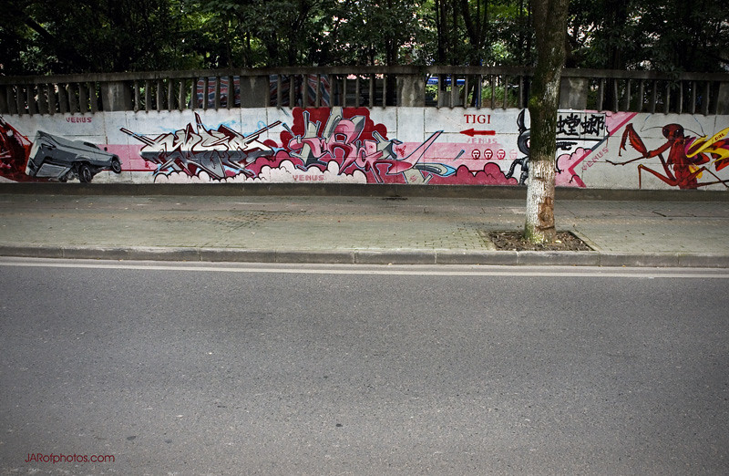 A graffiti wall along the base of Turtle Mountain in Wuhan.