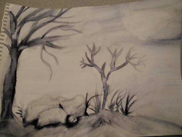 We learned shadows, painting in black/white, and painting rocks and trees.
