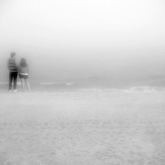 can we... (Vitaliy P.) Tags: ocean new york city nyc boy people bw white mist black water girl fog brooklyn out square island sand nikon couple candid young teenagers skirt explore crop coney striped blown explored d80 18135mm vitaliyp gettylicensed