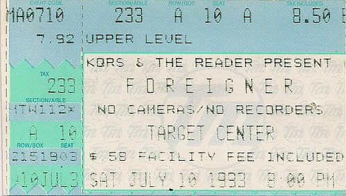 07/10/93 Foreigner/Chris Hawkey Band @ Minneapolis, MN (Ticket)