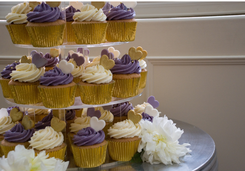 Bex and Paul's Fabulous Purple, Gold and Cream Cupcake Tower at the Great John Street Hotel, Manchester