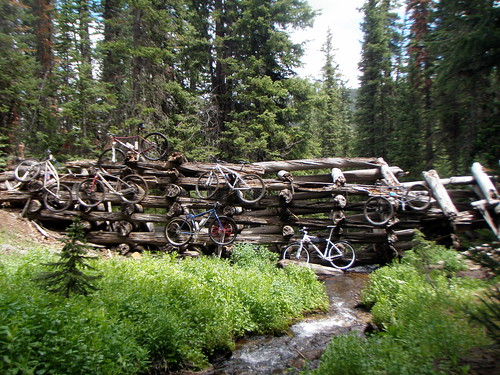 bikes on the flume wall