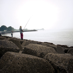 One Fisherman, Two Fishermen (jacob schere [in the 03 strategically planning]) Tags: ocean summer beach nature water rock japan square concrete tokyo seaside fishing fisherman fishermen natural jetty jacob cement rocky seawall pole communication chiba summertime lucid thepacificocean schere grii katsuura jacobschere lucidcommunication
