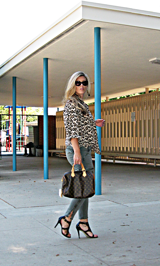 J Brand cargo skinny pants+leopard print blouse+Tom Ford Anouk sunglasses+louis vuitton speedy+sharp