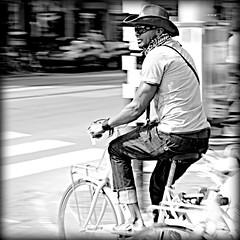 The Marlboro man. (Iam Marjon Bleeker) Tags: people holland amsterdam bike bicycle cowboy prinsengracht jordaan rozengracht manonabike peopleonabike manonabikeinamsterdam