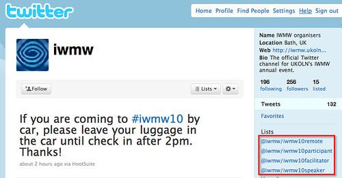 IWMW lists