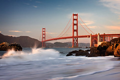 GG Bridge from Baker Beach (PrevailingConditions) Tags: sanfrancisco california ca sunset rocks waves goldengatebridge bayarea ocea pwpartlycloudy