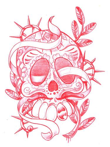 mexican skull tattoo. Mexican Skull Tattoo Flash