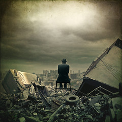 Neue Regel (Midnight - digital) Tags: city cinema clouds ruins mood alone decay digitalart apocalypse atmosphere cinematic devastation watcher contemplation fallout endoftheworld dystopia dystopian postapocalyptic rubbles devastated