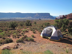The best campsite ever. (rovingmagpie) Tags: camping utah moab redrock campsite blm fishertowers professorvalley ceot2010 ceotcampsite