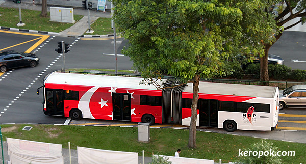 SMRT Bus with the Singapore Flag Design
