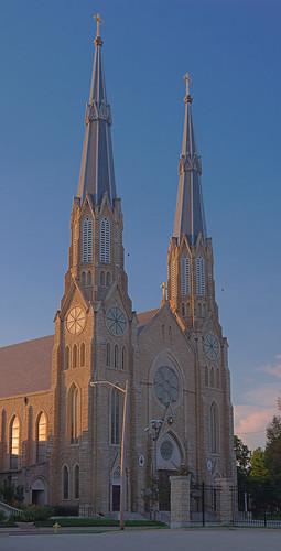Cathedral of Saint Mary of the Immaculate Conception, in Peoria, Illinois, USA - exterior front at sunset