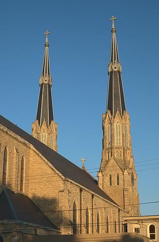 Cathedral of Saint Mary of the Immaculate Conception, in Peoria, Illinois, USA - exterior back at sunset