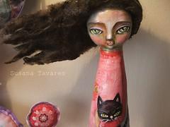 ...and an art doll (Susana Tavares) Tags: pink blue cat doll order princess sweet mixedmedia retratos massa clay gato boneca artdoll princesa atelier encomenda susanatavares rosaeazul