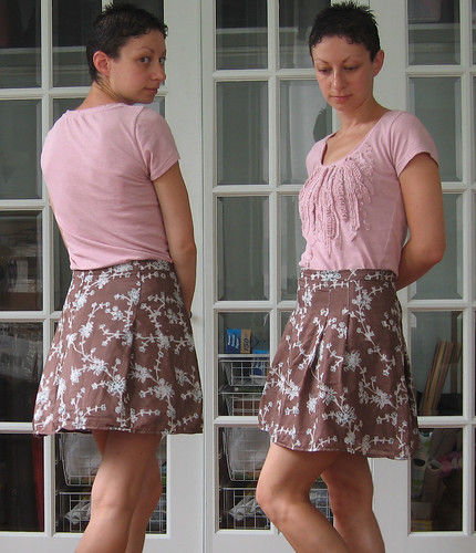 skirt - brown silk with blue flowers from nancy