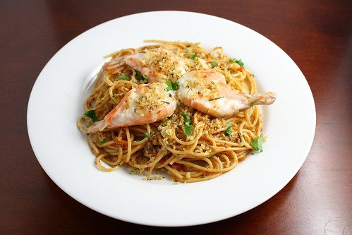 Red Pistou Pasta with Shrimp and Herbes de Provence Crumbs