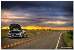 Stranded (California CPA) Tags: road sunset storm abandoned utah waiting stranded broke hdr auditt inthemiddleofnowhere outofgas photomatix noreception