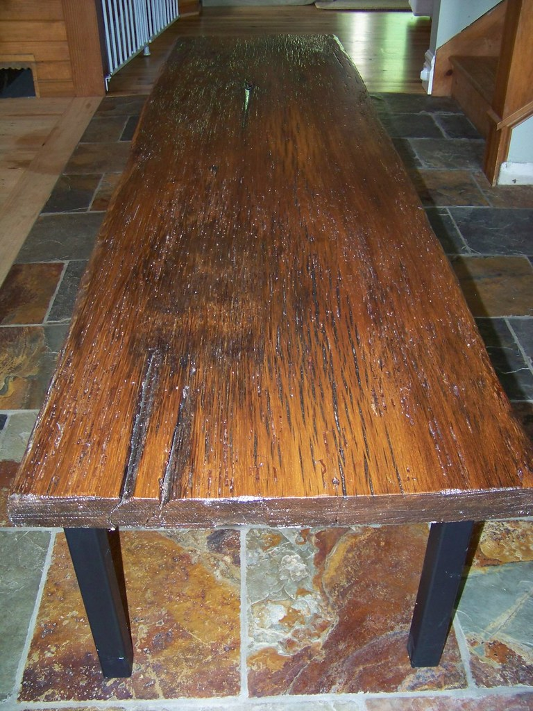 Reclaimed Oak Wood Coffee Table long side view