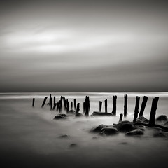 Sticks and Stones (Jeff Gaydash) Tags: longexposure blackandwhite water square seascapes michigan greatlakes lakehuron lakescapes nd110