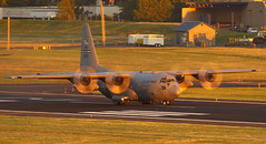 Spinning Disks At Sunset (planephotoman) Tags: pdx amc lockheed hercules c130 herk lockheedmartin herc petersonafb summit24 pdxaircraft afrc c130h pdxmilitary 67324 302aw 731as 967324