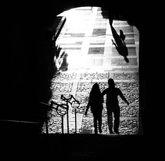 Palma (Andy WXx2009) Tags: blackandwhite woman sunlight abstract men spain europe shadows artistic candid streetphotography espana mallorca palma shaftsoflight silouhettes minamalist