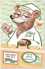 Travel Lodge_Sleepy Bear_tatteredandlost (T and L basement) Tags: bear ephemera travellodge sleepybear motelpostcard vintagetravelad motelstationary