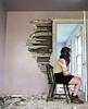 selfdestructivezones (yyellowbird) Tags: woman house abandoned girl wall illinois chair hole state cari selfpotrait fail